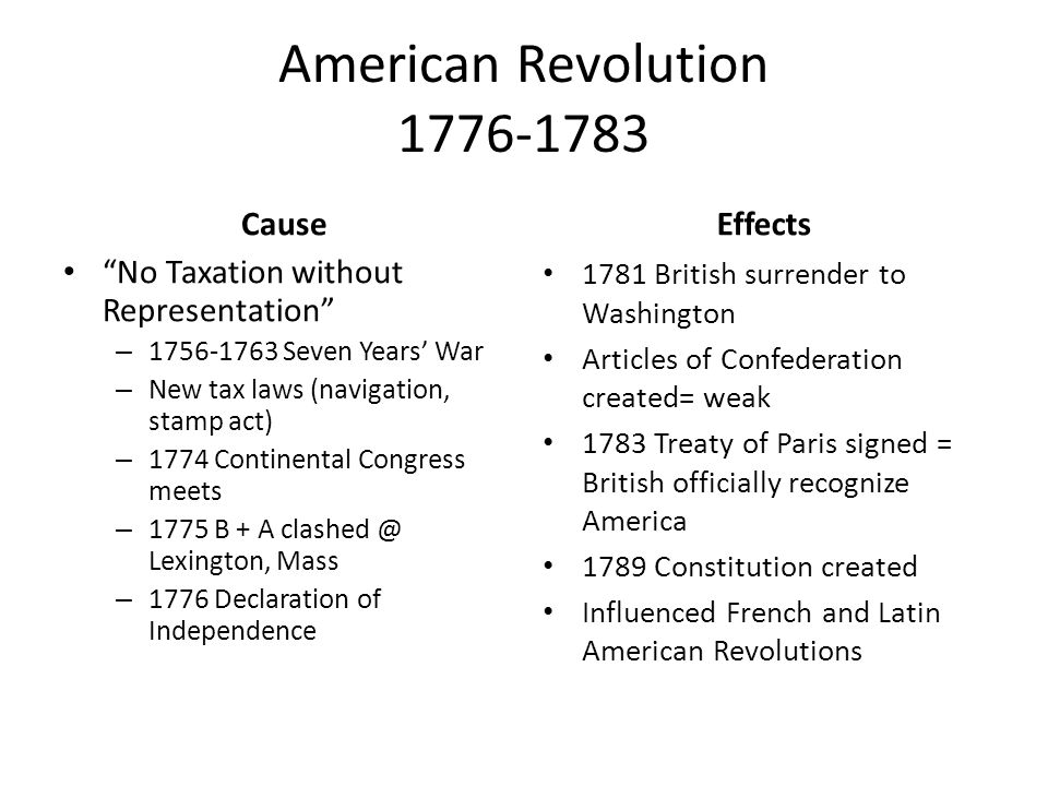 French Revolution 1789-1799 Cause Estates General – Unfair taxation – Unfair privileges Deficit Spending – Costly wars – Lavish court – Poor harvests – Economic Recession NO $$$$$ or FOOD MAKES PEOPLE ANGRY Effects Increase in Nationalism Congress of Vienna Legitimacy Quadruple Alliance Concert of Europe BALANCE OF POWER
