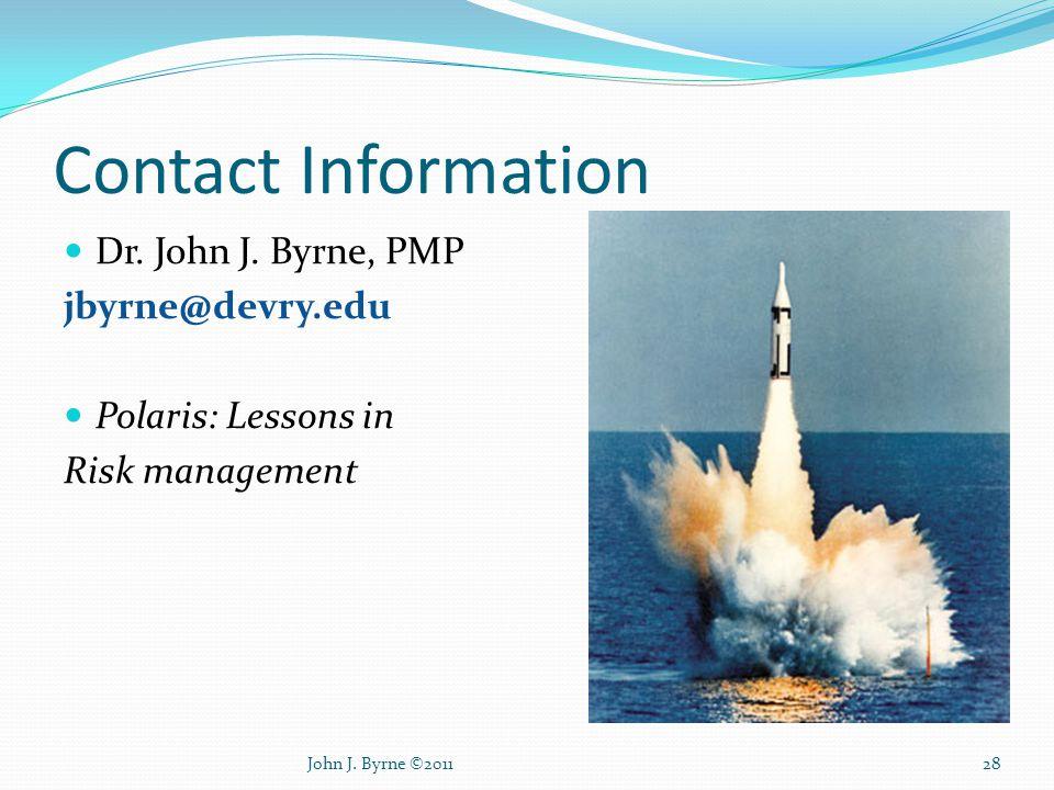Contact Information Dr. John J.