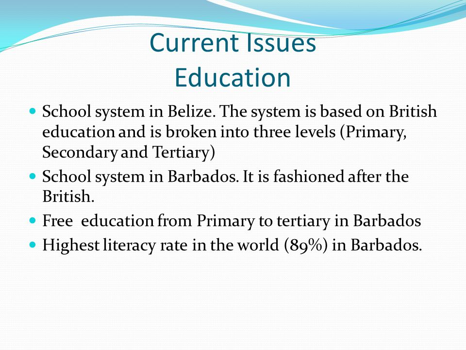 Current Issues Education School system in Belize. The system is based on British education and is broken into three levels (Primary, Secondary and Ter
