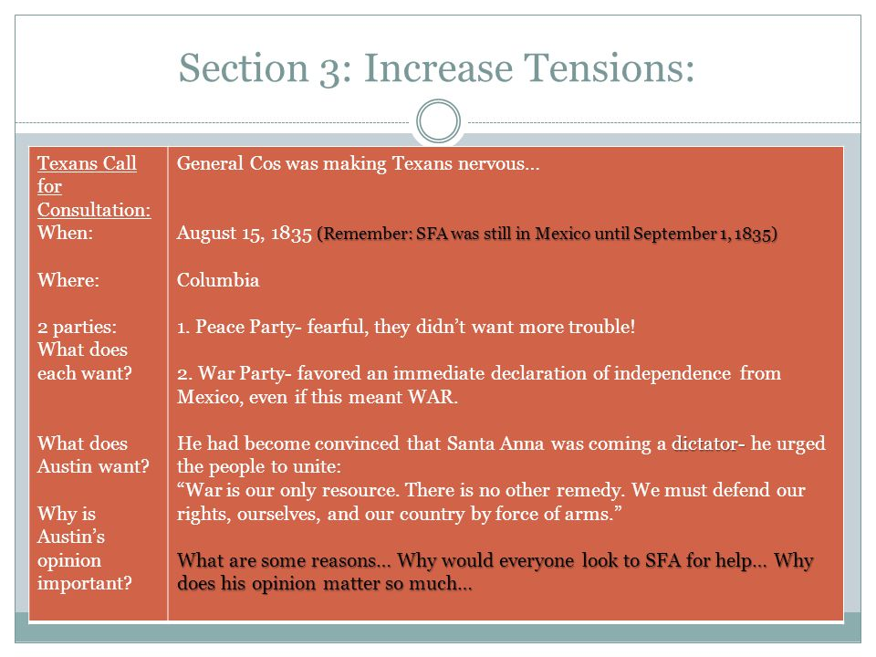 Section 3: Increase Tensions: Texans Call for Consultation: When: Where: 2 parties: What does each want? What does Austin want? Why is Austin's opinio