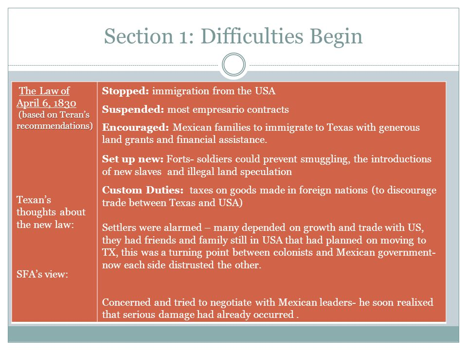 Section 1: Difficulties Begin The Law of April 6, 1830 (based on Teran's recommendations) (based on Teran's recommendations) Texan's thoughts about th
