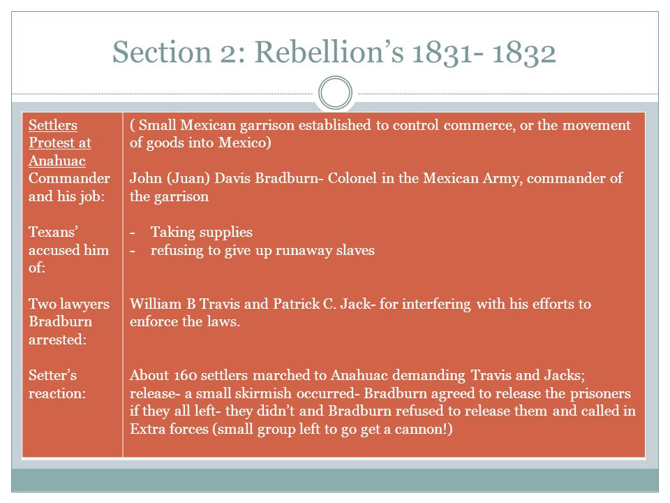 Section 2: Rebellion's 1831- 1832 Settlers Protest at Anahuac Commander and his job: Texans' accused him of: Two lawyers Bradburn arrested: Setter's r