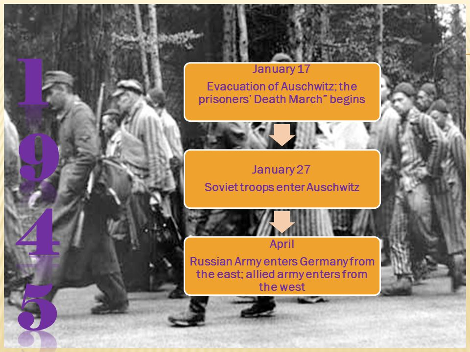 January 17 Evacuation of Auschwitz; the prisoners' Death March begins January 27 Soviet troops enter Auschwitz April Russian Army enters Germany from the east; allied army enters from the west