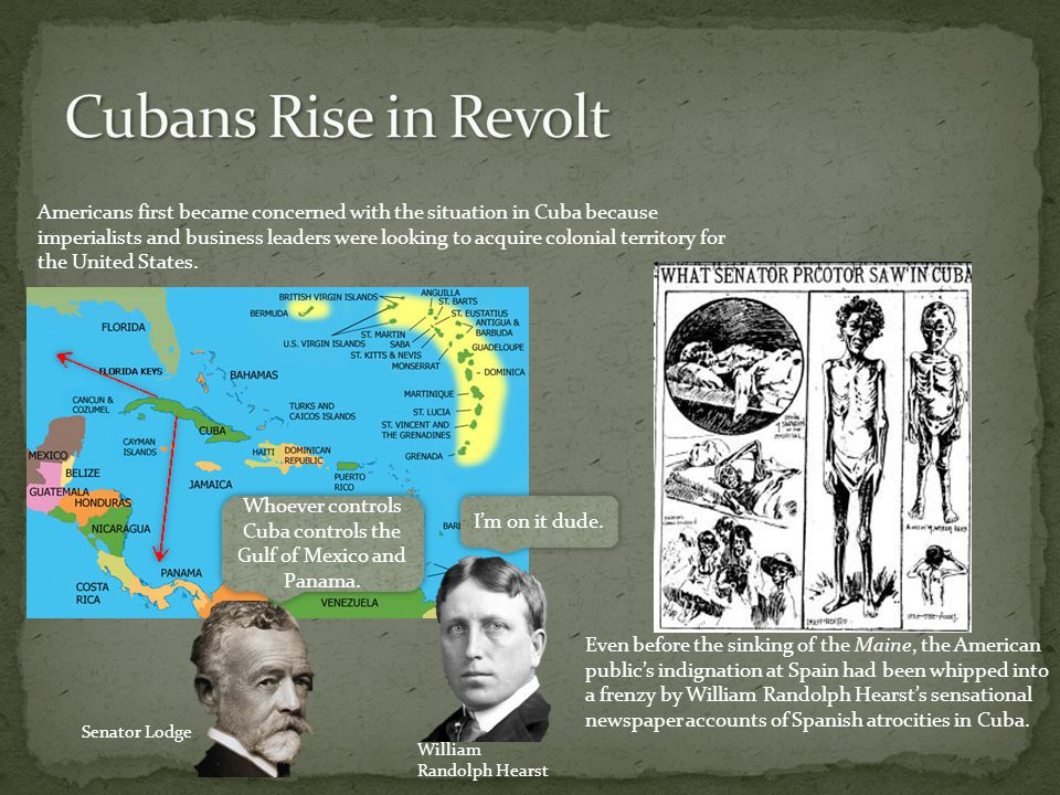 Americans first became concerned with the situation in Cuba because imperialists and business leaders were looking to acquire colonial territory for the United States.