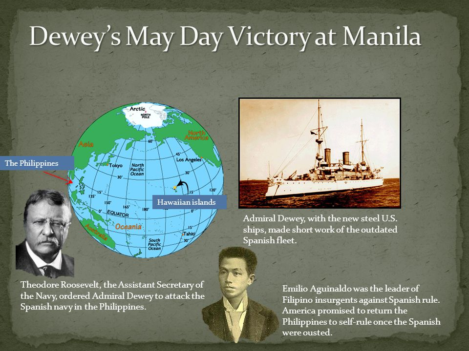 Emilio Aguinaldo was the leader of Filipino insurgents against Spanish rule. America promised to return the Philippines to self-rule once the Spanish