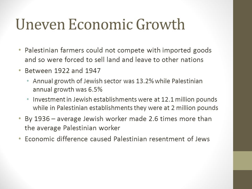 Social/Cultural Growth 1919 – Centralized Hebrew school system 1925 – Two Hebrew universities 1932 – Jewish literacy rate at 86% while Palestinian literacy rate at 22%