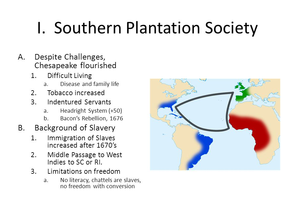 I. Southern Plantation Society A.Despite Challenges, Chesapeake flourished 1.Difficult Living a.Disease and family life 2.Tobacco increased 3.Indentur