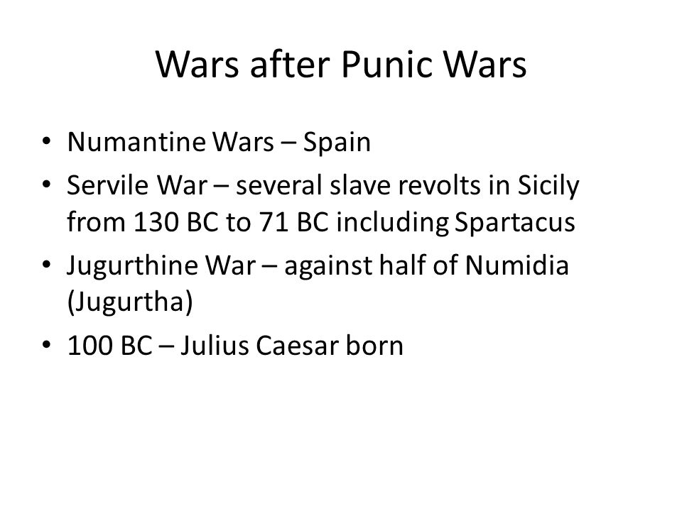Pre-Caesar Generals Rivalry between Marius and Sulla Confiscations of property Sulla fought in Jugurthine War and against Mithridates in Pontus Pompey and Crassus joined Sulla against Marius Proscriptions – confiscation and selling of property