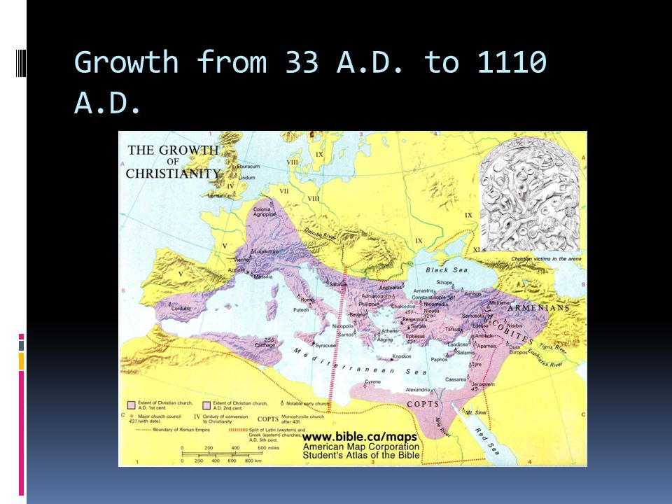 Growth from 33 A.D. to 1110 A.D.
