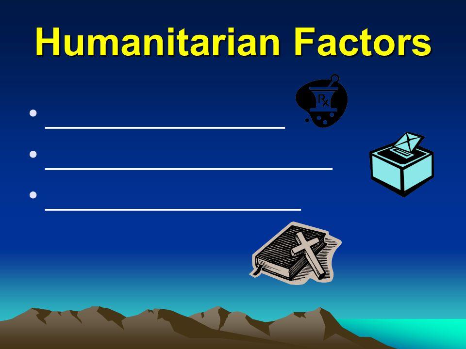 Humanitarian Factors _______________ __________________ ________________
