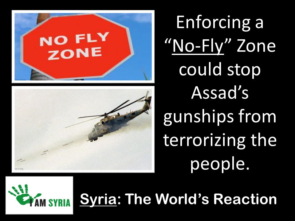 Syria: The World's Reaction Enforcing a No-Fly Zone could stop Assad's gunships from terrorizing the people.