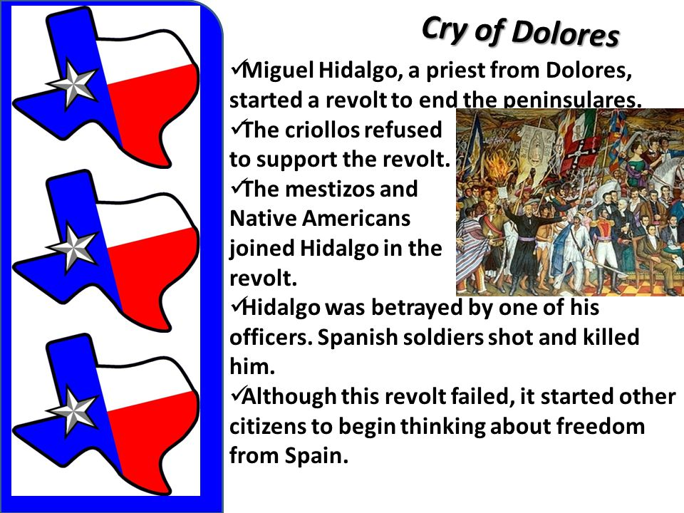 Cry of Dolores Miguel Hidalgo, a priest from Dolores, started a revolt to end the peninsulares. The criollos refused to support the revolt. The mestiz