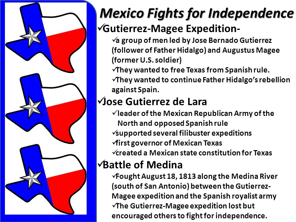 Mexico Fights for Independence Gutierrez-Magee Expedition- a group of men led by Jose Bernado Gutierrez (follower of Father Hidalgo) and Augustus Mage