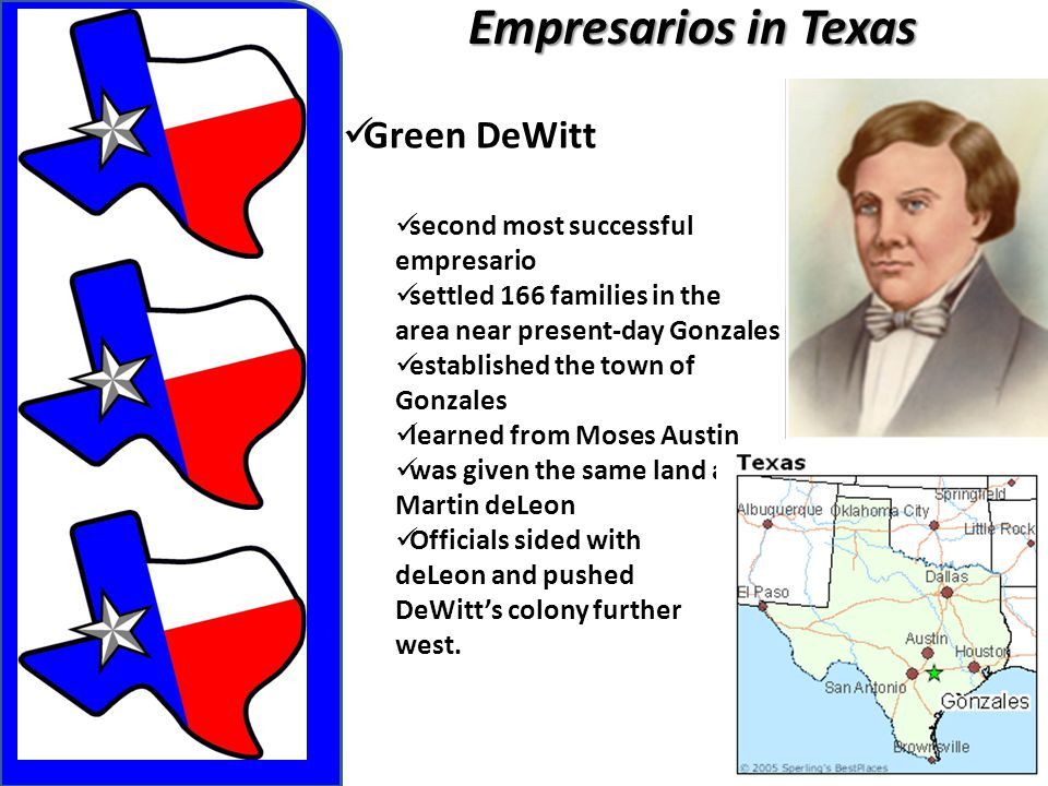Empresarios in Texas Green DeWitt second most successful empresario settled 166 families in the area near present-day Gonzales established the town of