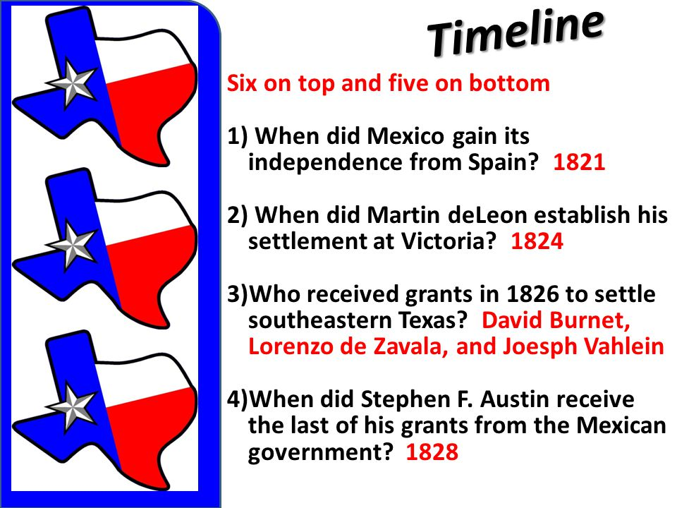 Timeline Six on top and five on bottom 1) When did Mexico gain its independence from Spain? 1821 2) When did Martin deLeon establish his settlement at