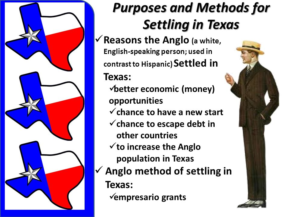 Purposes and Methods for Settling in Texas Reasons the Anglo (a white, English-speaking person; used in contrast to Hispanic) Settled in Texas: better