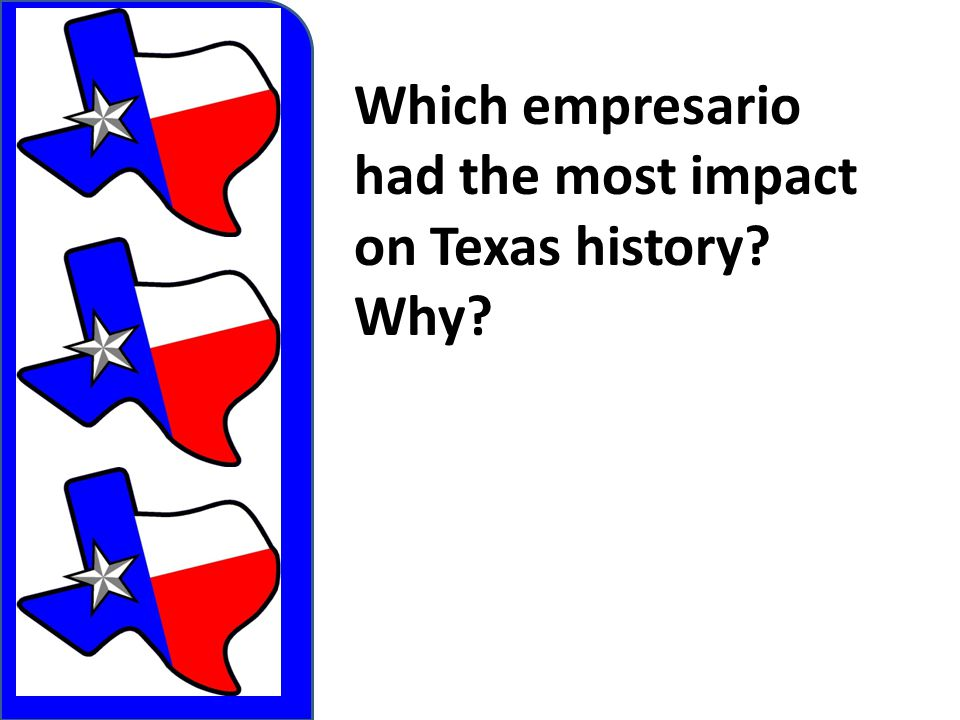 Which empresario had the most impact on Texas history? Why?