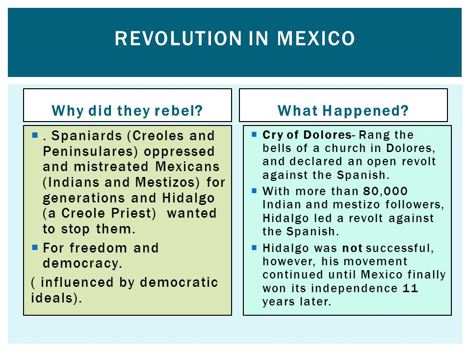 Why did they rebel? . Spaniards (Creoles and Peninsulares) oppressed and mistreated Mexicans (Indians and Mestizos) for generations and Hidalgo (a Cr