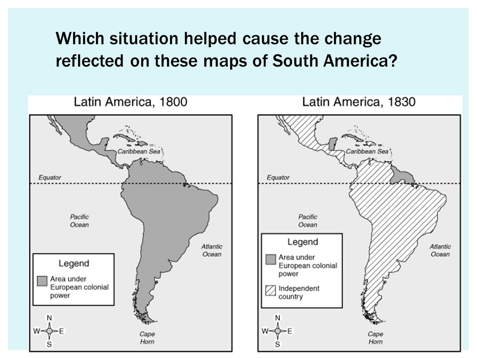 Which situation helped cause the change reflected on these maps of South America?