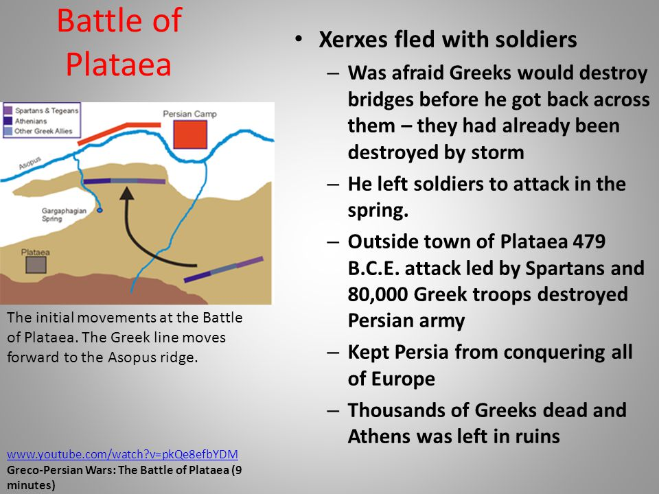 Battle of Plataea Xerxes fled with soldiers – Was afraid Greeks would destroy bridges before he got back across them – they had already been destroyed by storm – He left soldiers to attack in the spring.
