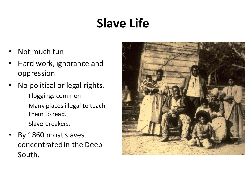 Slave Life Not much fun Hard work, ignorance and oppression No political or legal rights. – Floggings common – Many places illegal to teach them to re