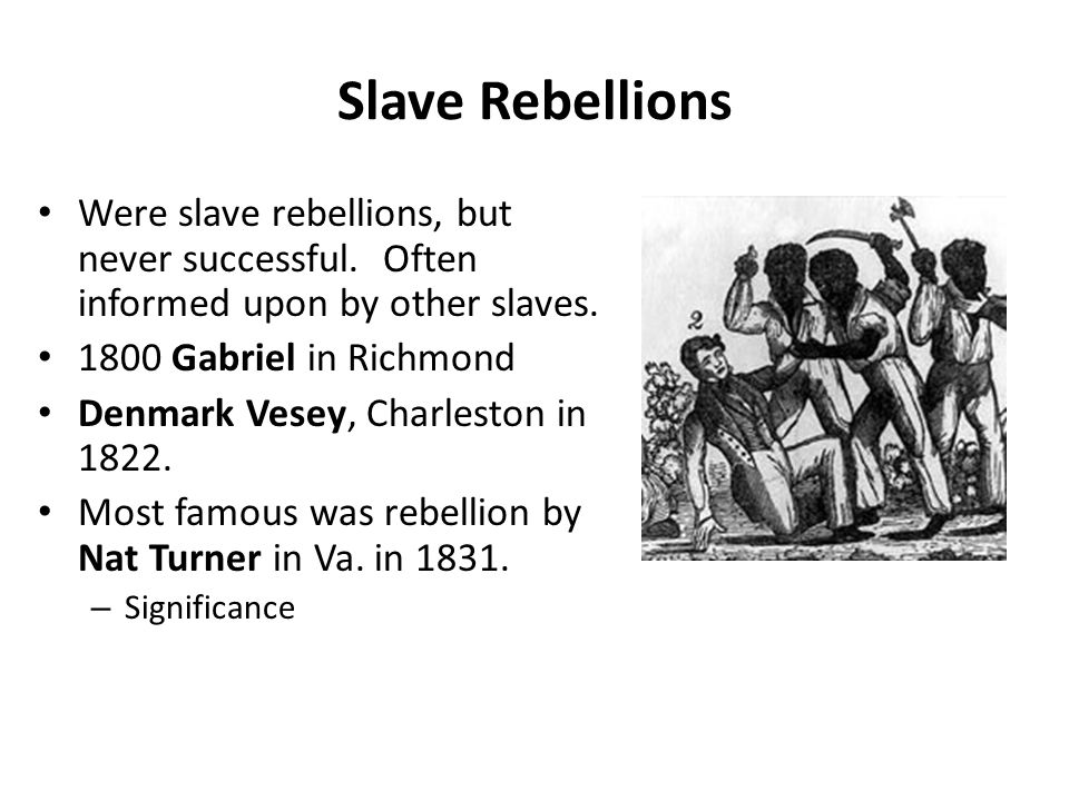 Slave Rebellions Were slave rebellions, but never successful. Often informed upon by other slaves. 1800 Gabriel in Richmond Denmark Vesey, Charleston