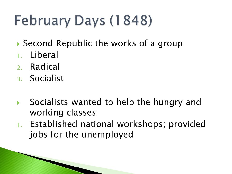  Second Republic the works of a group 1. Liberal 2.