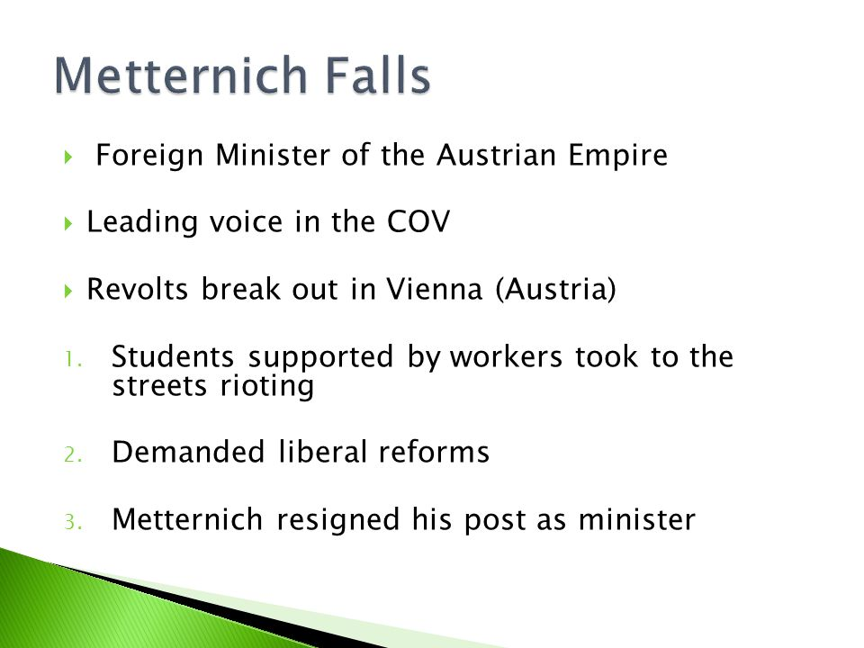  Foreign Minister of the Austrian Empire  Leading voice in the COV  Revolts break out in Vienna (Austria) 1.