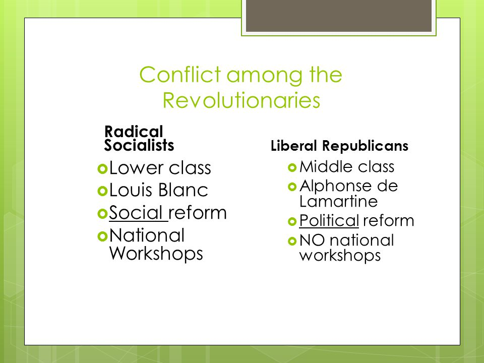 Conflict among the Revolutionaries Radical Socialists  Lower class  Louis Blanc  Social reform  National Workshops Liberal Republicans  Middle class  Alphonse de Lamartine  Political reform  NO national workshops
