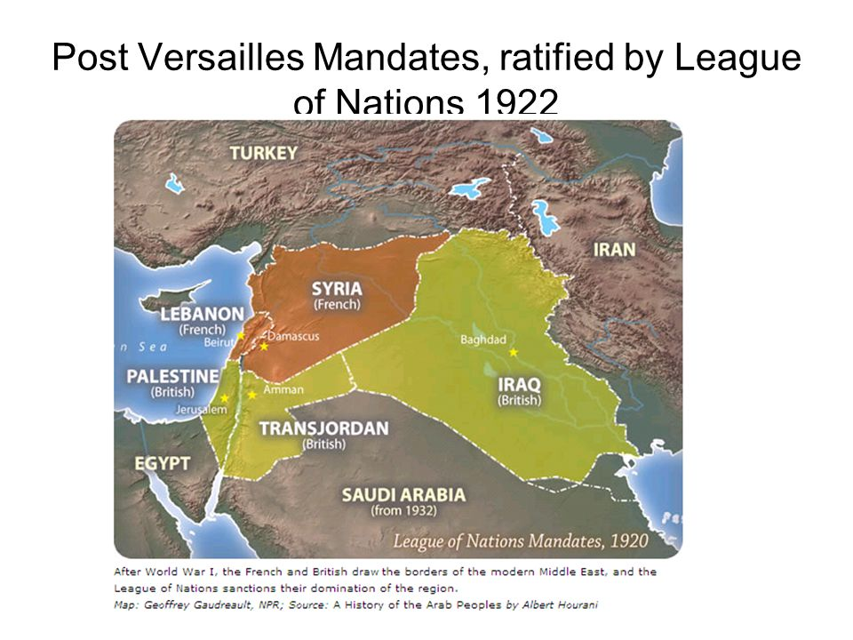 Post Versailles Mandates, ratified by League of Nations 1922
