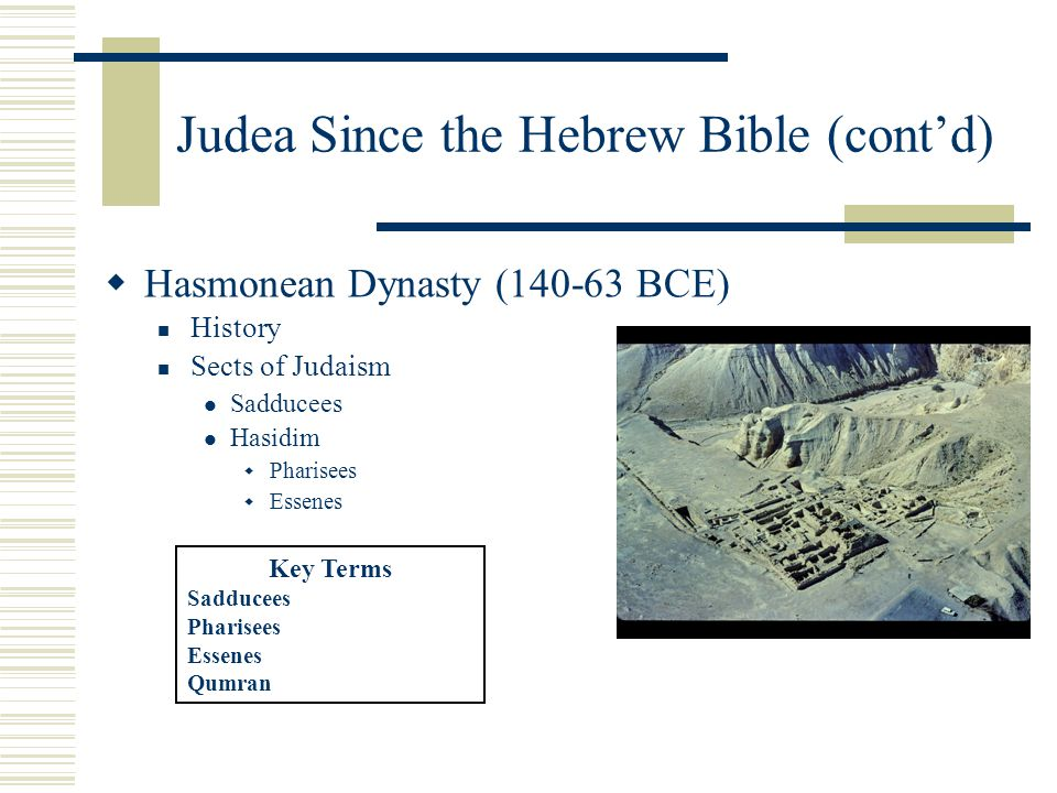 Judea Since the Hebrew Bible (cont'd)  Hasmonean Dynasty (140-63 BCE) History Sects of Judaism Sadducees Hasidim  Pharisees  Essenes Key Terms Sadducees Pharisees Essenes Qumran