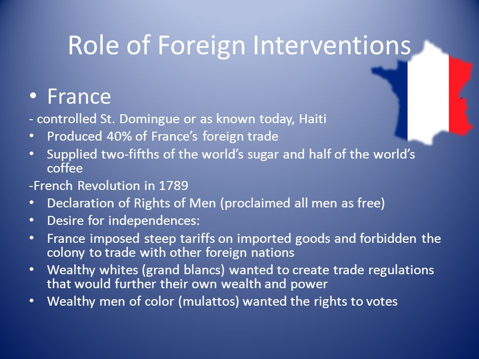 Role of Foreign Interventions France - controlled St.