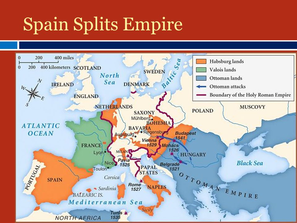 Spain Splits Empire 11556: Divides empire between brother and son BBrother took over old Hapsburg holdings in Austria SSon (Phillip II) rules Netherlands, Spain, Sicily, and American colonies CCharles lives rest of life in monastery
