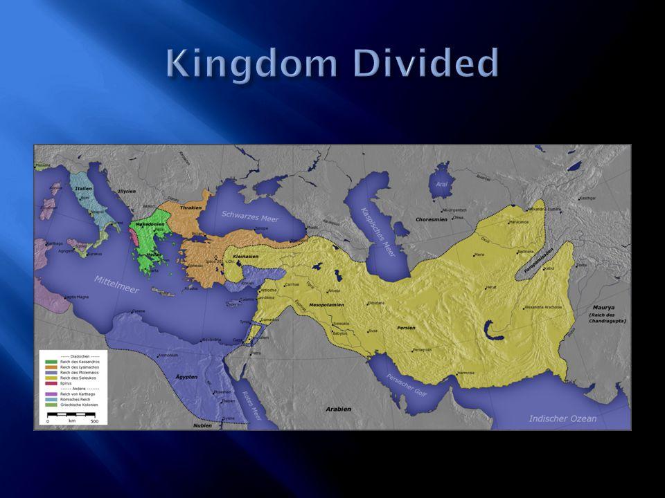  Cassander's kingdom was conquered by Lysimachus's (Battle of Ipsus 301BC)  Lysimachus's kingdom was conquered by Seleucus.(Battle of Corupedium in 281BC)