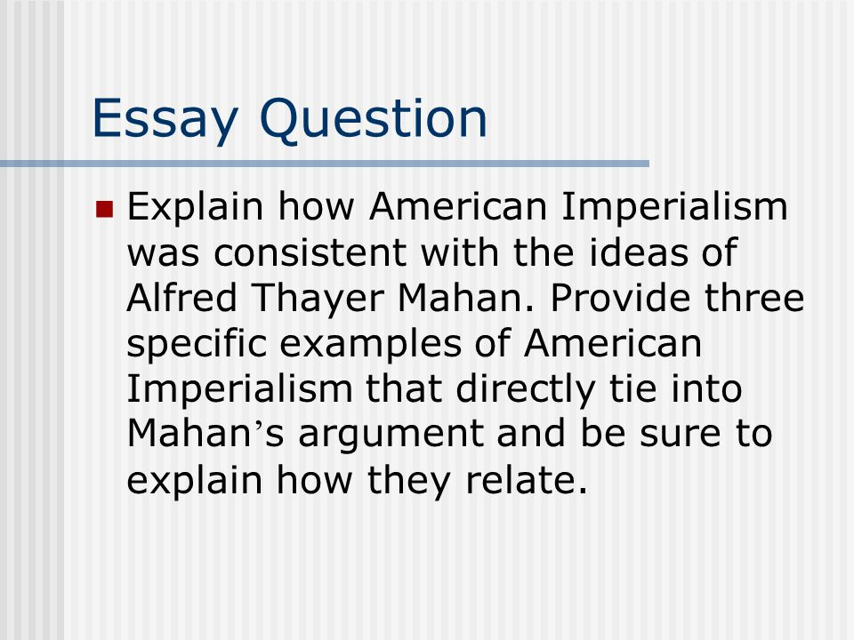 new imperialism essay questions Essay dbq: effects of imperialism evaluate the following statement regarding new imperialism of the late dbq effects of imperialism.