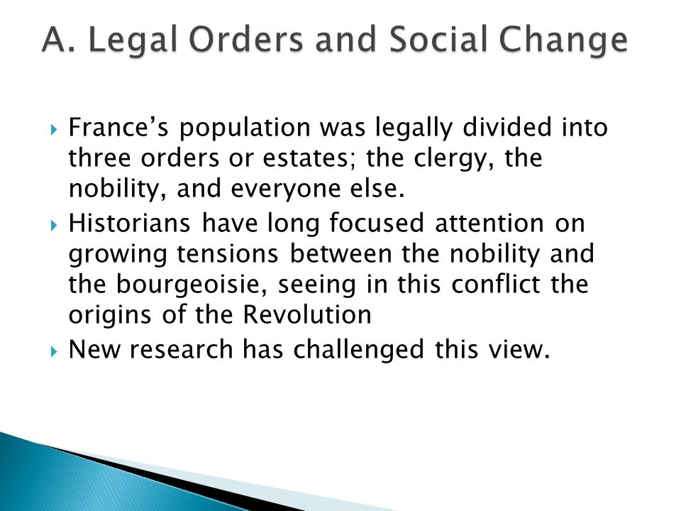  France's population was legally divided into three orders or estates; the clergy, the nobility, and everyone else.