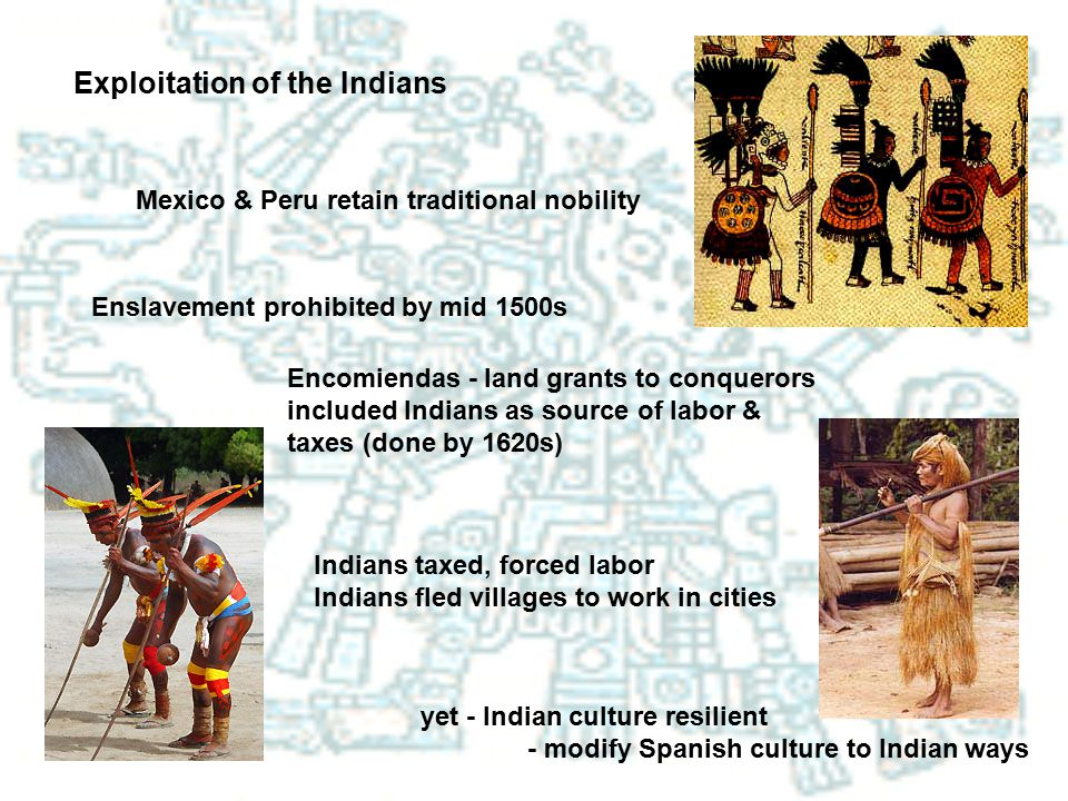 Exploitation of the Indians Mexico & Peru retain traditional nobility Enslavement prohibited by mid 1500s Encomiendas - land grants to conquerors incl