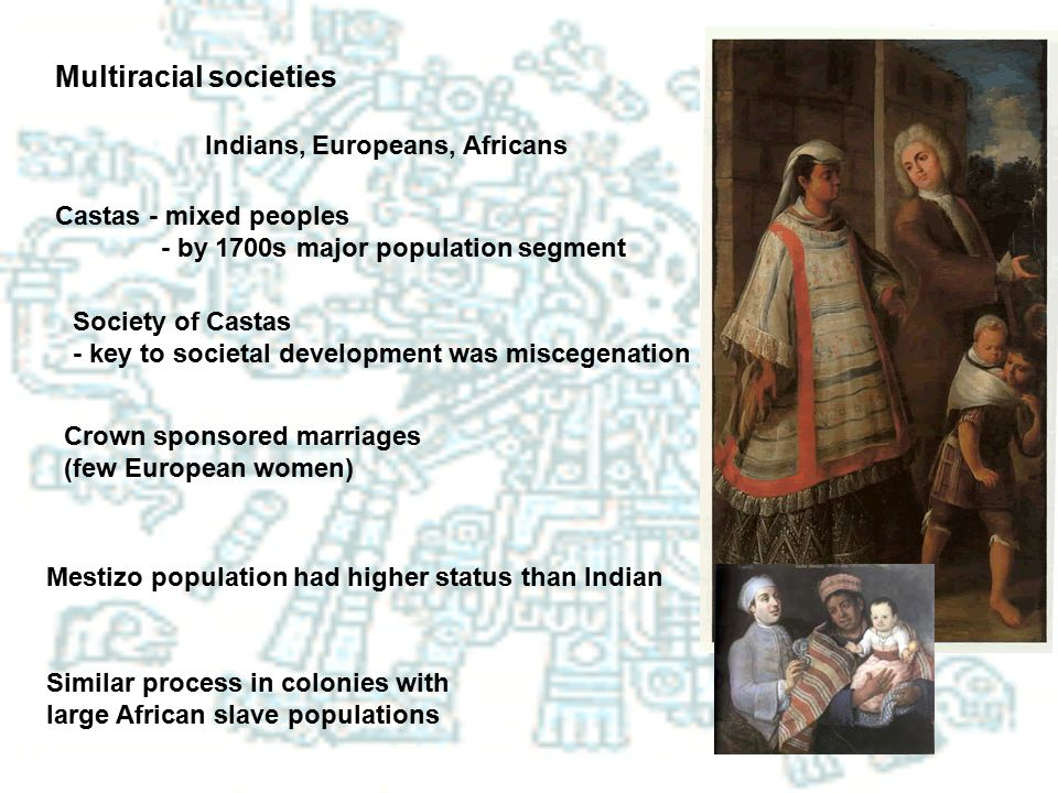 Multiracial societies Castas - mixed peoples - by 1700s major population segment Indians, Europeans, Africans Society of Castas - key to societal deve