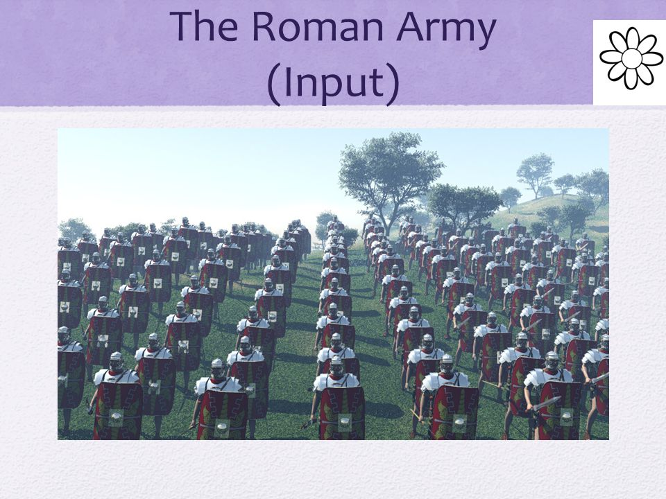 The Roman Army (Input) At first Romans organized their infantry into long, unbroken lines This tactic worked well on flat plains, but not on hills.