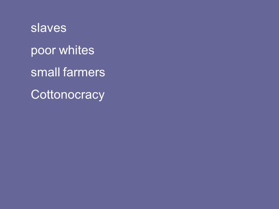 slaves poor whites small farmers Cottonocracy