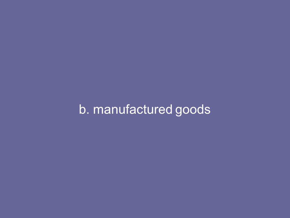 b. manufactured goods