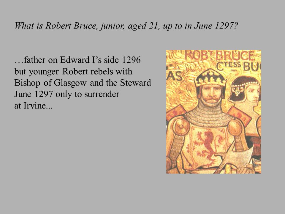 What is Robert Bruce, junior, aged 21, up to in June 1297? …father on Edward I's side 1296 but younger Robert rebels with Bishop of Glasgow and the St