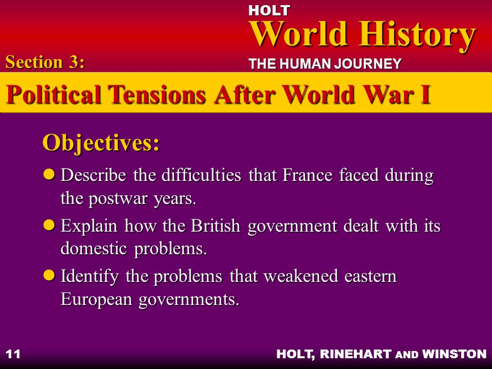 HOLT World History World History THE HUMAN JOURNEY HOLT, RINEHART AND WINSTON 11 Objectives: Describe the difficulties that France faced during the postwar years.