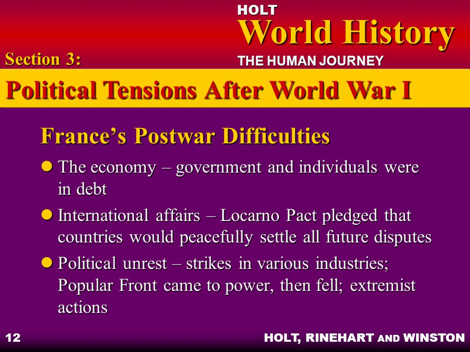 HOLT World History World History THE HUMAN JOURNEY HOLT, RINEHART AND WINSTON 12 France's Postwar Difficulties The economy – government and individuals were in debt The economy – government and individuals were in debt International affairs – Locarno Pact pledged that countries would peacefully settle all future disputes International affairs – Locarno Pact pledged that countries would peacefully settle all future disputes Political unrest – strikes in various industries; Popular Front came to power, then fell; extremist actions Political unrest – strikes in various industries; Popular Front came to power, then fell; extremist actions Section 3: Political Tensions After World War I