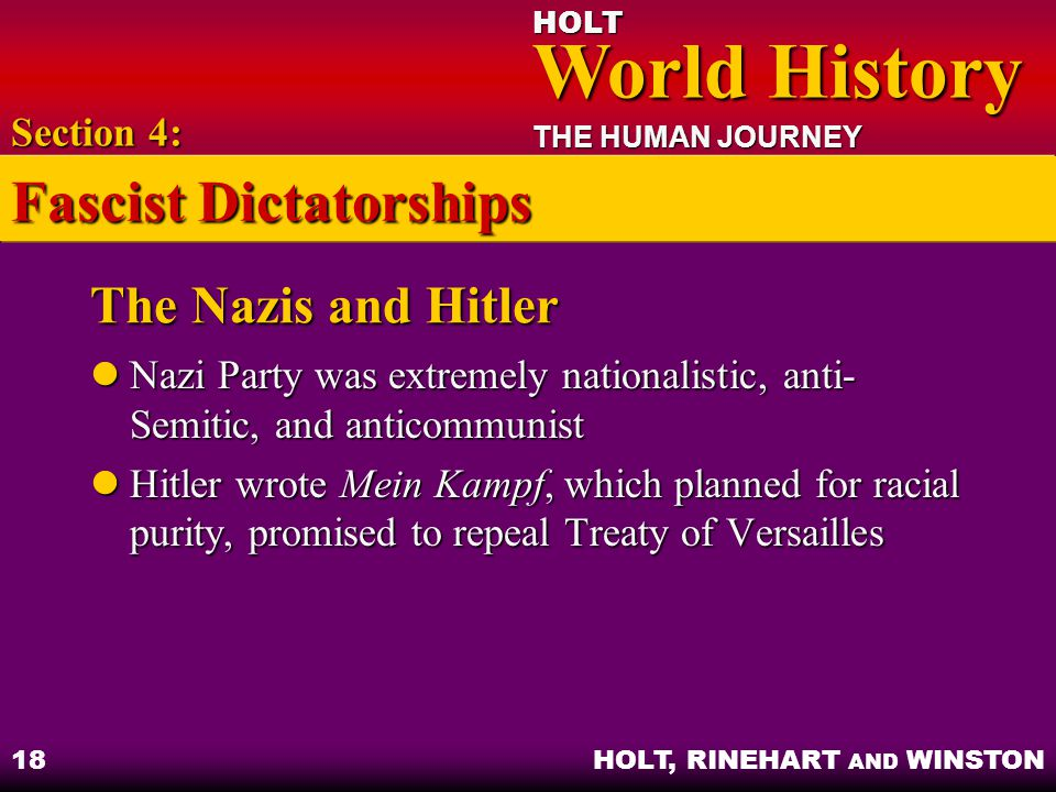 HOLT World History World History THE HUMAN JOURNEY HOLT, RINEHART AND WINSTON 18 The Nazis and Hitler Nazi Party was extremely nationalistic, anti- Semitic, and anticommunist Nazi Party was extremely nationalistic, anti- Semitic, and anticommunist Hitler wrote Mein Kampf, which planned for racial purity, promised to repeal Treaty of Versailles Hitler wrote Mein Kampf, which planned for racial purity, promised to repeal Treaty of Versailles Section 4: Fascist Dictatorships