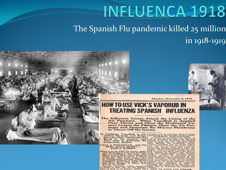 The Spanish Flu pandemic killed 25 million in 1918-1919