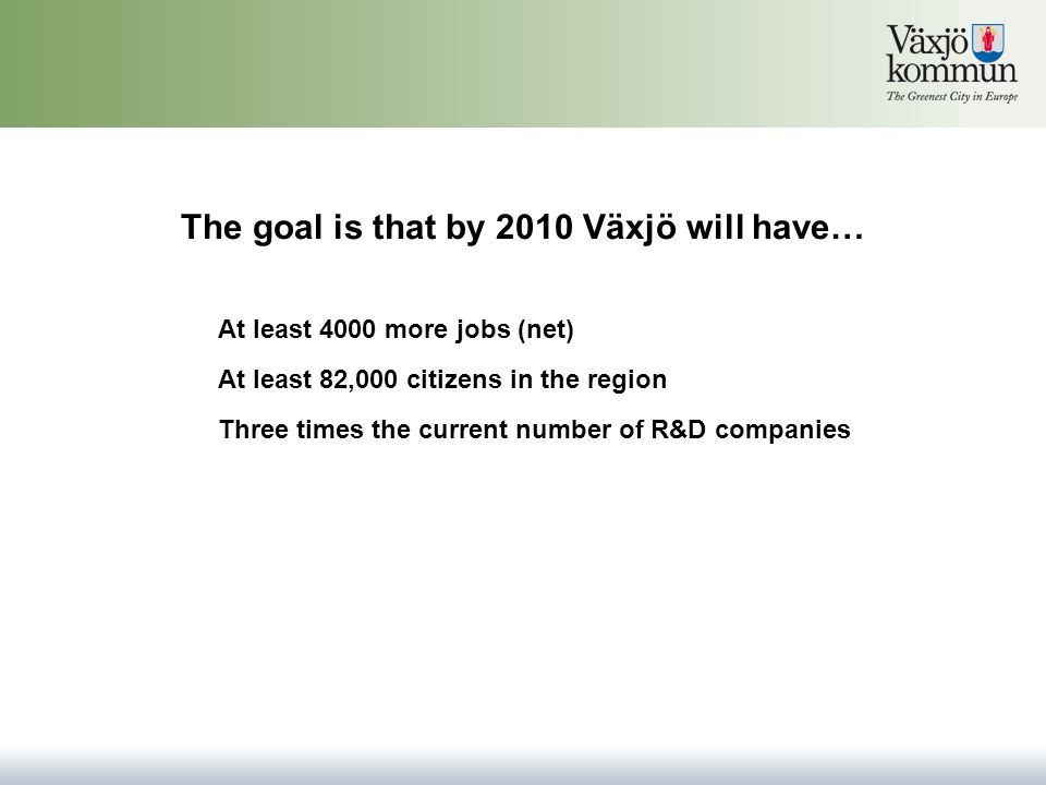 The goal is that by 2010 Växjö will have… At least 82,000 citizens in the region Three times the current number of R&D companies At least 4000 more jobs (net)