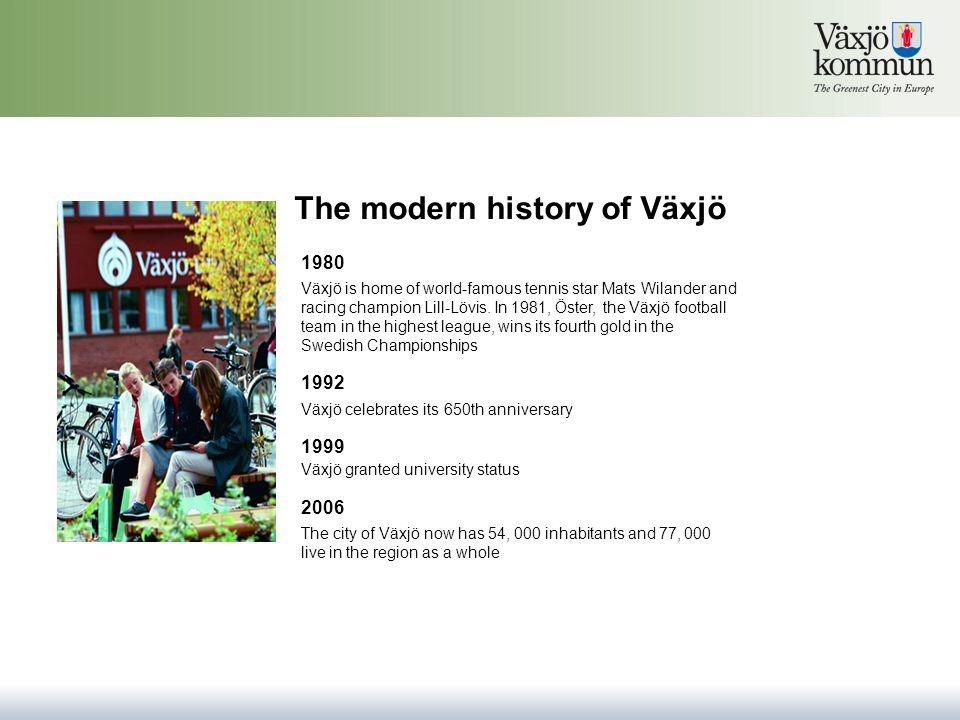 The modern history of Växjö 1980 Växjö is home of world-famous tennis star Mats Wilander and racing champion Lill-Lövis.