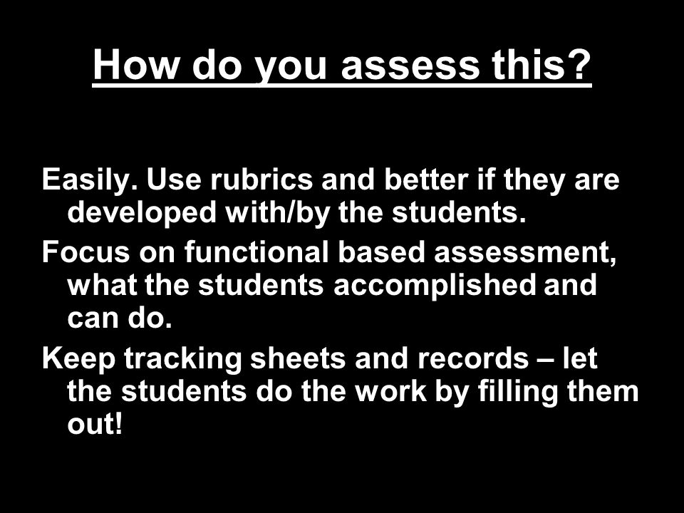 How do you assess this.Easily. Use rubrics and better if they are developed with/by the students.