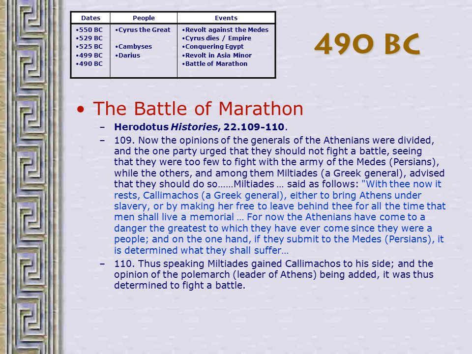 Battle of Marathon not going well –Persia is clobbering Athens DatesPeopleEvents 550 BC 529 BC 525 BC 499 BC 490 BC Cyrus the Great Cambyses Darius Revolt against the Medes Cyrus dies / Empire Conquering Egypt Revolt in Asia Minor Battle of Marathon